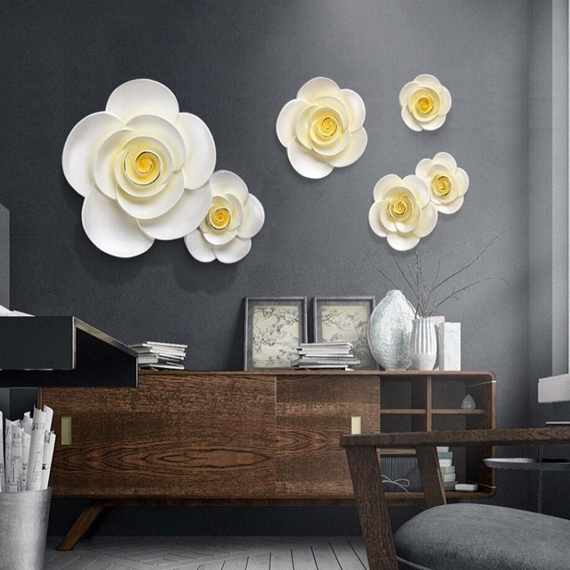 DIY 3D 4 PC Muons Wall Decorative Painting Bedroom Wall Stickers Sofa Background Wall Accessories Home Decoration Ceramic Flower