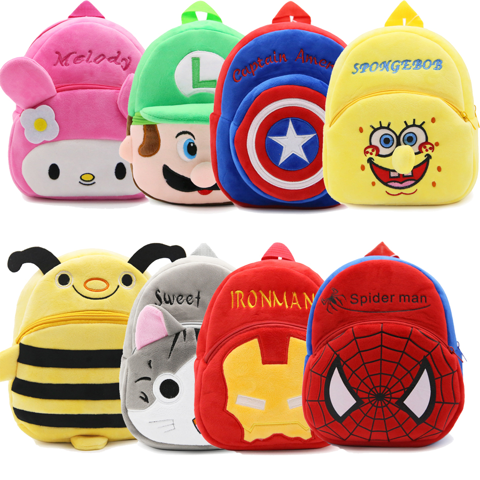 New Plush Backpack kawai Pikachu superman Cartoon cute Bunny Backpack Stuffed Kids small school bag best gifts, free shipping unique superman custom kids school backpack bag small the portable