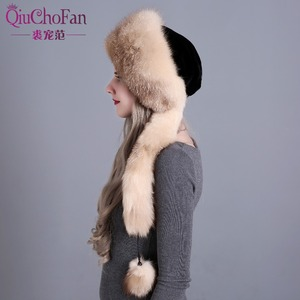 Image 3 - Womens Winter Hats Genuine Fox Fur & Rabbit Fur Hat with 2 Pompons Whole Fox Tail Russian Winter Outside Warm Mongolian Caps