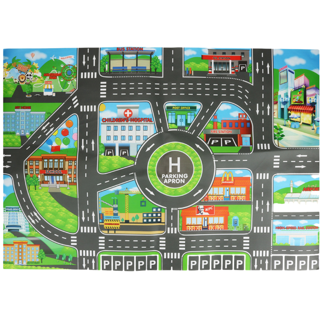 Town Road City Parking Scene Map Waterproof Foldable Mat English Edition Vehicles Toys For Kids Children Early Development Toys