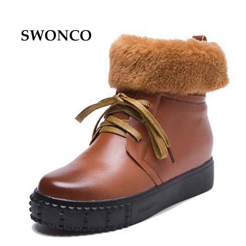 SWONCO Boots Women Genuine Leather Ankle Boot Leather Winter Boots Woman Snow Platform Plush Fur Womens Snow Shoes High Top goncale high quality band snow boots women fashion genuine leather women s winter boot with black red brown ug womens boots