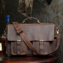 New Men Briefcase Genuine Cow Leather Fashion Vintage Business Dress Briefcase Bag Male Versatile Laptop Case Shoulder Bag Bolsa