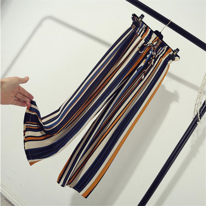 pant   New Chiffon   Wide     leg     pants   Spring summer Boho Loose High waist Thin Striped   pants   Beach   pants