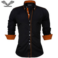 Casual Long Sleeve Quilted Slim Fit Dress Shirts 2015 Autumn New Arrival Male Solid High Quality