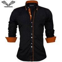VISADA JAUNA Mannen Shirts Europa Size Nieuwkomers Slim Fit mannelijke Shirt Solid Lange Mouwen Britse Stijl Katoen mannen Shirt N332