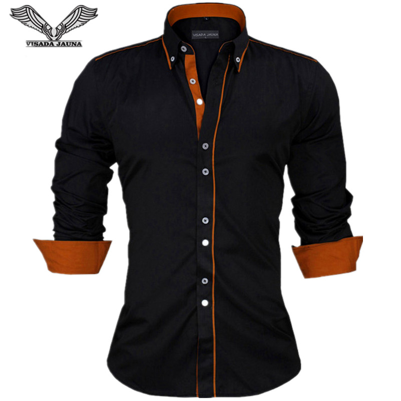 VISADA JAUNA Slim Fit Male Long Sleeve Cotton Men's Shirt