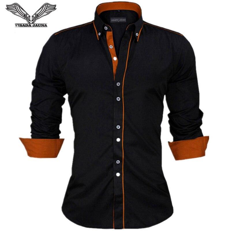 VISADA JAUNA Для мужчин рубашки Европа Размеры Новые поступления Slim Fit мужской рубашка с длинными рукавами Британский стиль хлопок Для мужчин рубашка n332