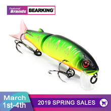 Bearking 2016good fishing lure minnow quality professional bait 11 3cm 13 7g swim bait jointed bait equipped black or white hook cheap River Reservoir Pond Ocean Boat Fishing Ocean Beach Fishing Stream Lake O-BK-JA1 Artificial Bait 113m White or Black Randomly