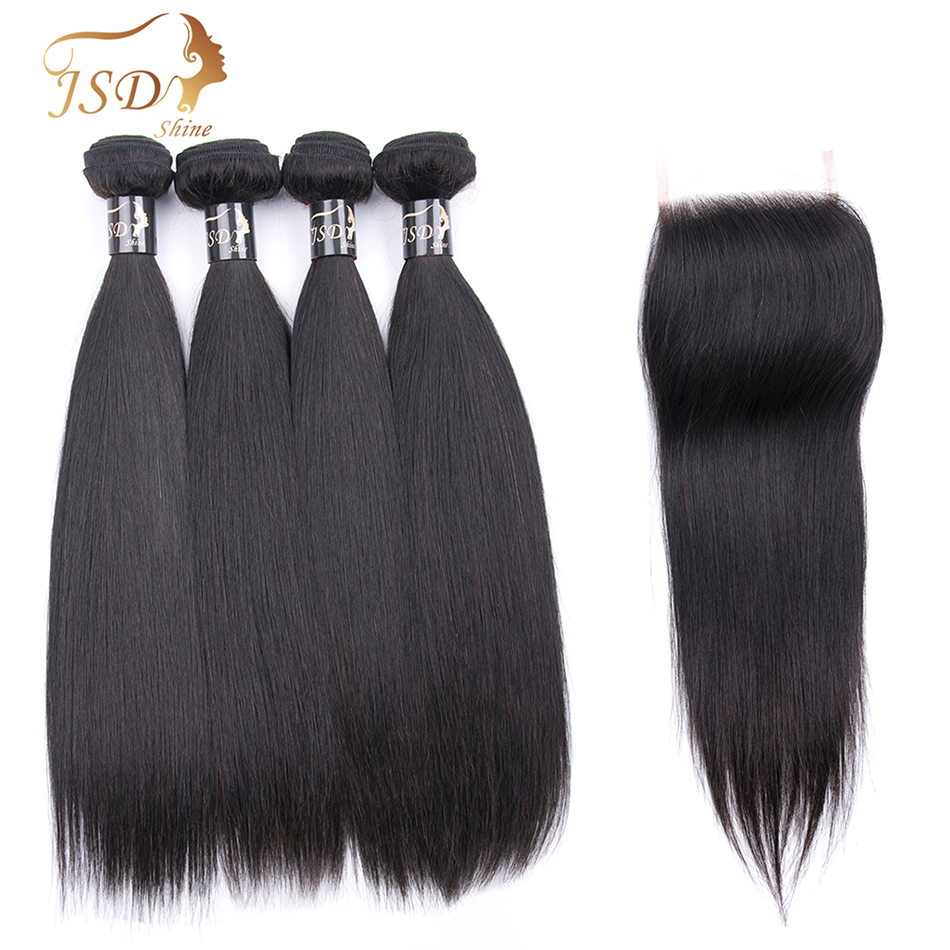 JSDShine Hair Straight Hair Bundles With Closure Non Remy Human Hair Bundles With Closure Brazilian Hair