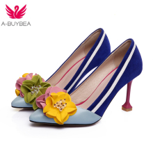 2018 Spring New Genuine Leather Fashion High Heels Shallow Women Flowers Pumps Pointed Toe Brand Shoes Wedding Shoes Party Shoes