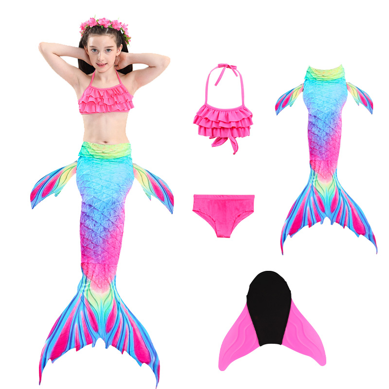 Colorful Bikini Children Mermaid Costume Swimwear Girls Split Kids Swimsuit Mermaid Tail with Monofin Fin Halloween Cosplay