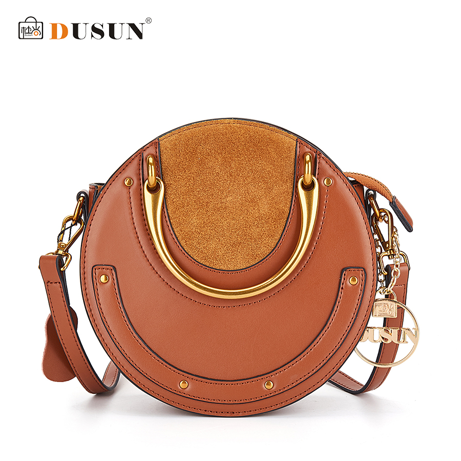 DUSUN Brand Women Round Metal Handbag Lovely Luxurious Genuine Leather Messenger Bags Ladies Rivet Crossbody Bag Fashion Style