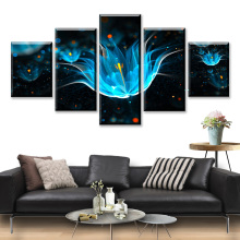 HD Print 5 Piece Abstract Canvas Art Poster Blue Sparks Flower Paintings On Wall For Home Decorations Decor Framework