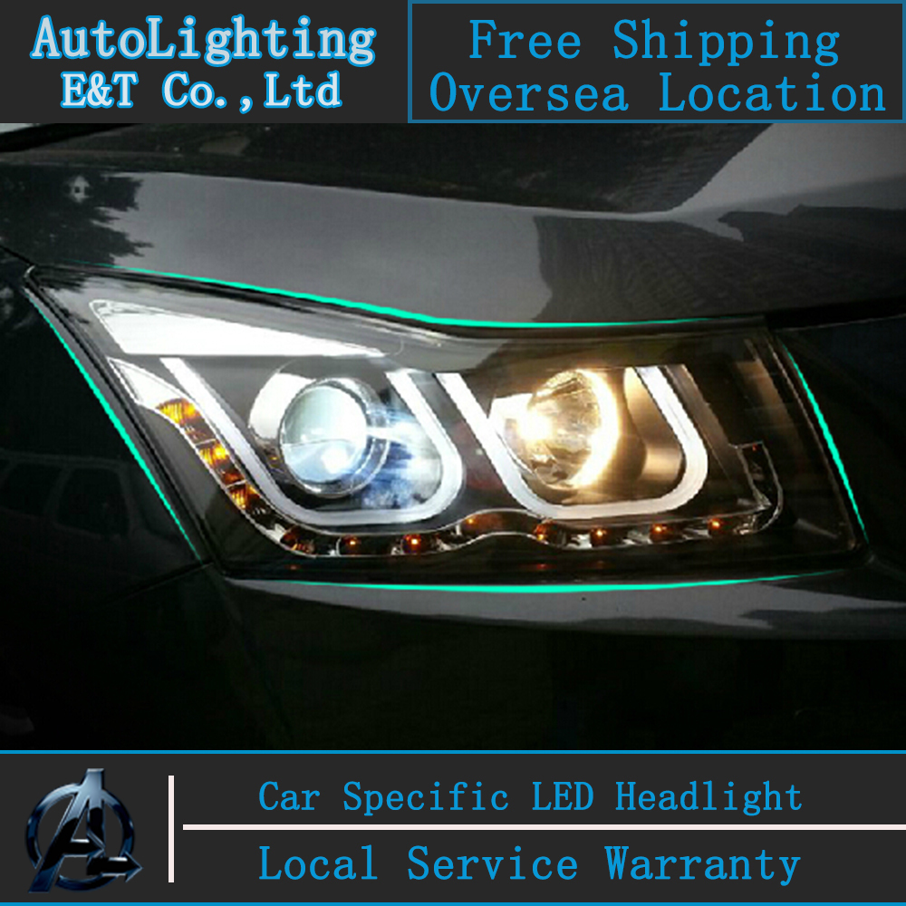 Car styling LED Head Lamp for Chevrolet Cruze led headlight assembly 2009-2014 double U led drl H7 with hid kit 2 pcs. car styling led head lamp for hyundai ix35 led headlight assembly 2010 2014 tuscon headlights drl h7 with hid kit 2pcs