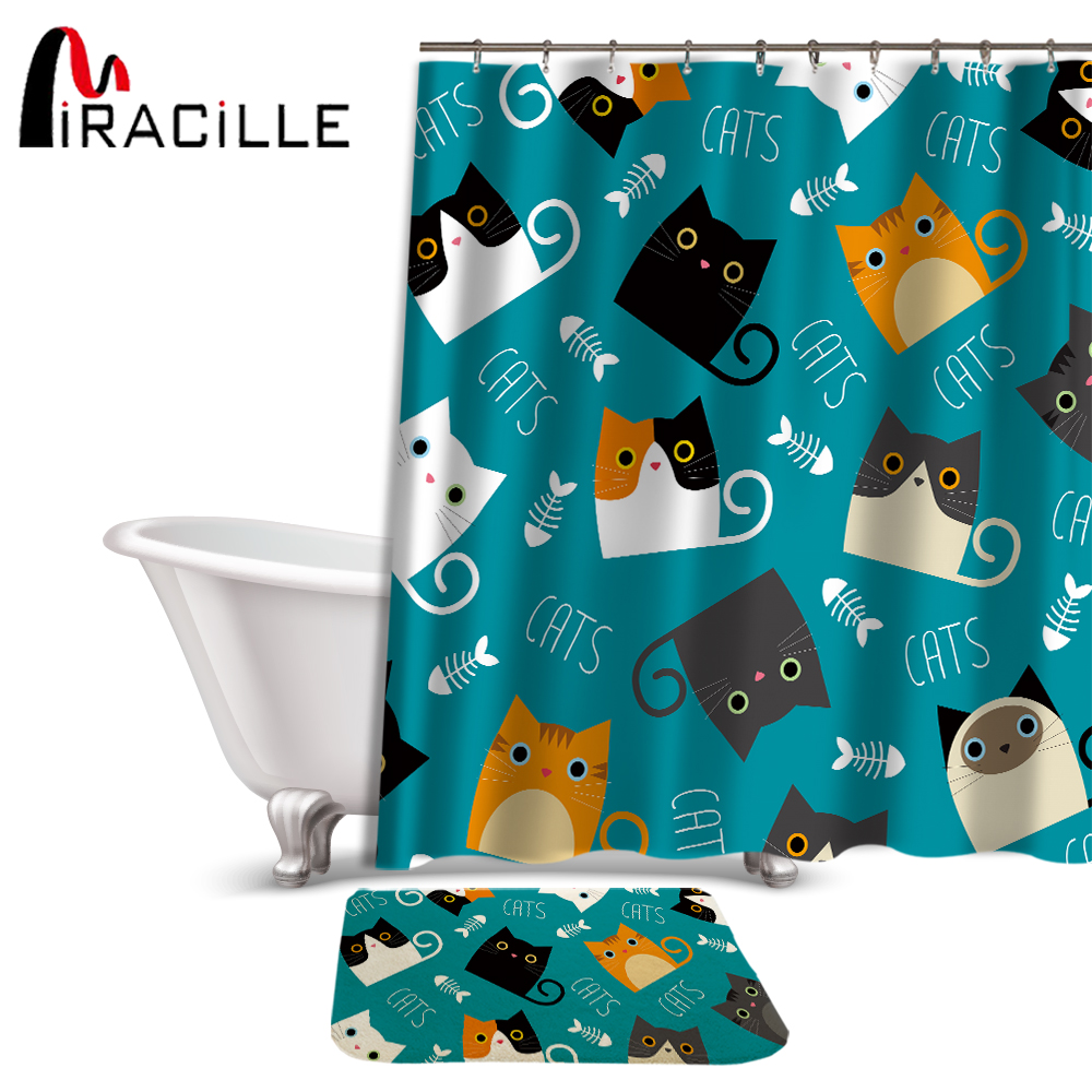 Miracille Cartoon Shower Curtain Set Cute Cat Printed Design Fabric  Polyester Waterproof Home Bathroom Decor Curtains And Carpet In Shower  Curtains From ...