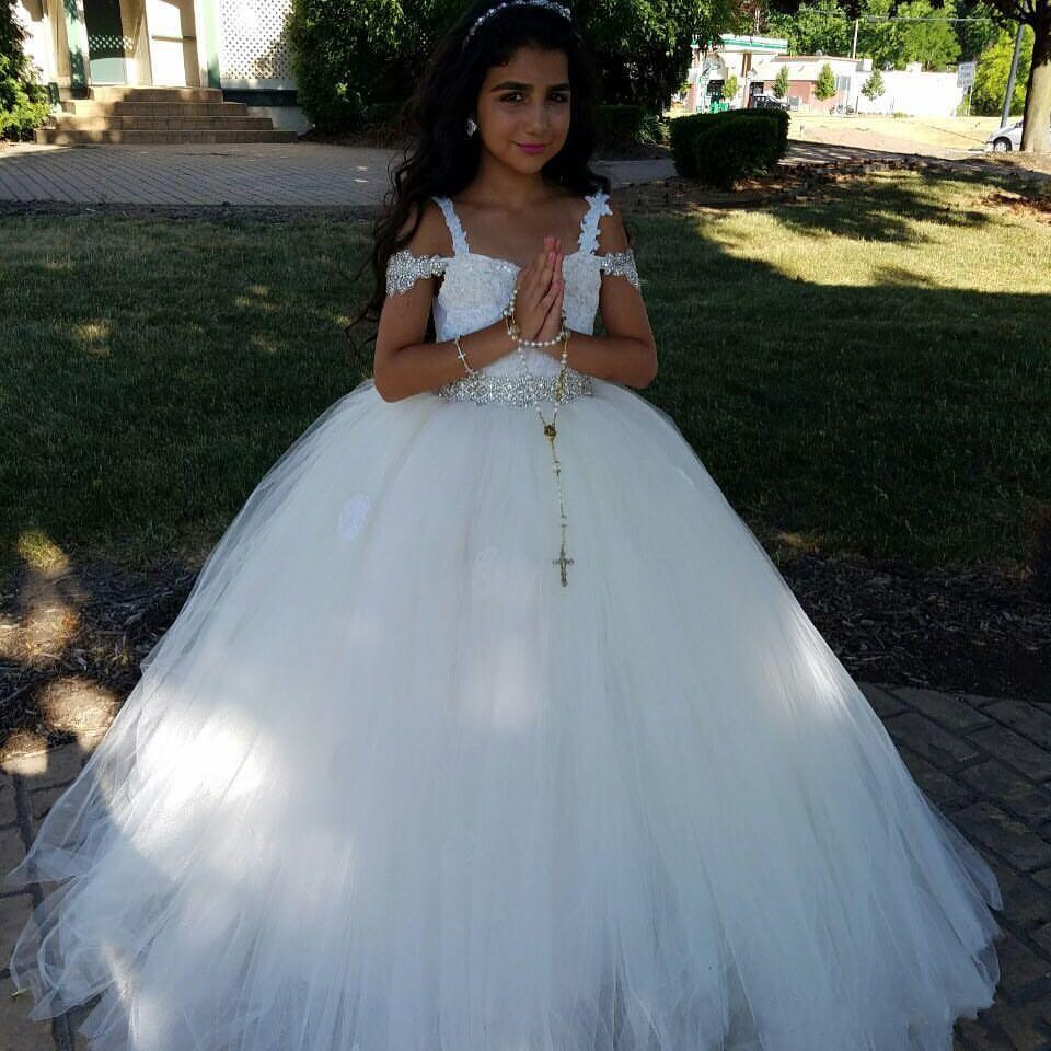 Lace Crystals Arabic 2017 Flower Girl Dresses for Weddings Tulle ...