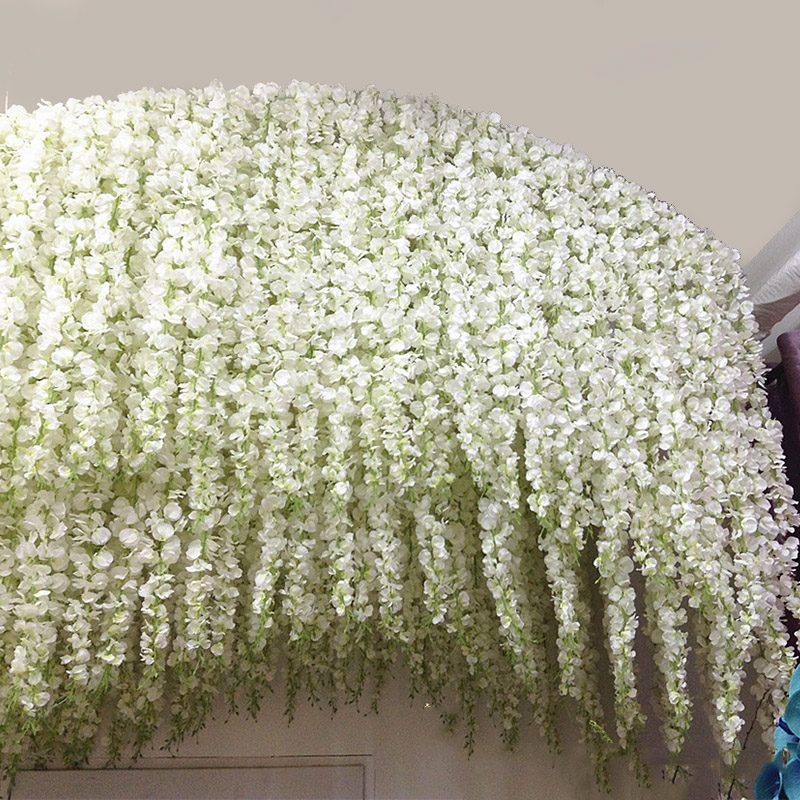 Beautiful White Artificial Silk Wisteria Flowers Hanging Fake Hydrangea Romantic Wedding Garland Vine Ivy Ceiling Decoration
