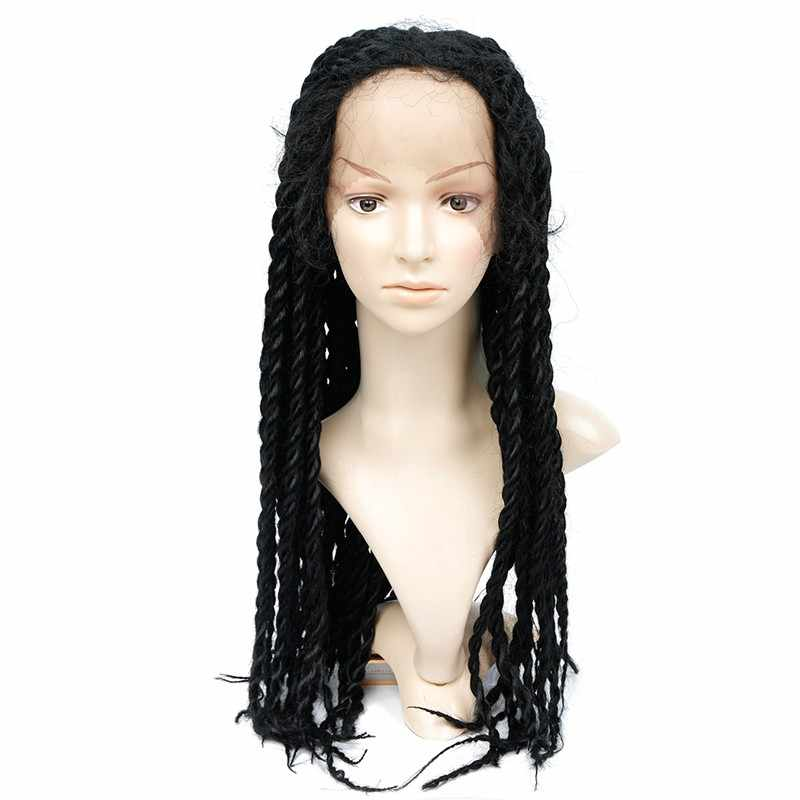 Feibin Lace Front Wig For Black Women Synthetic Afro Twist Braided Hair