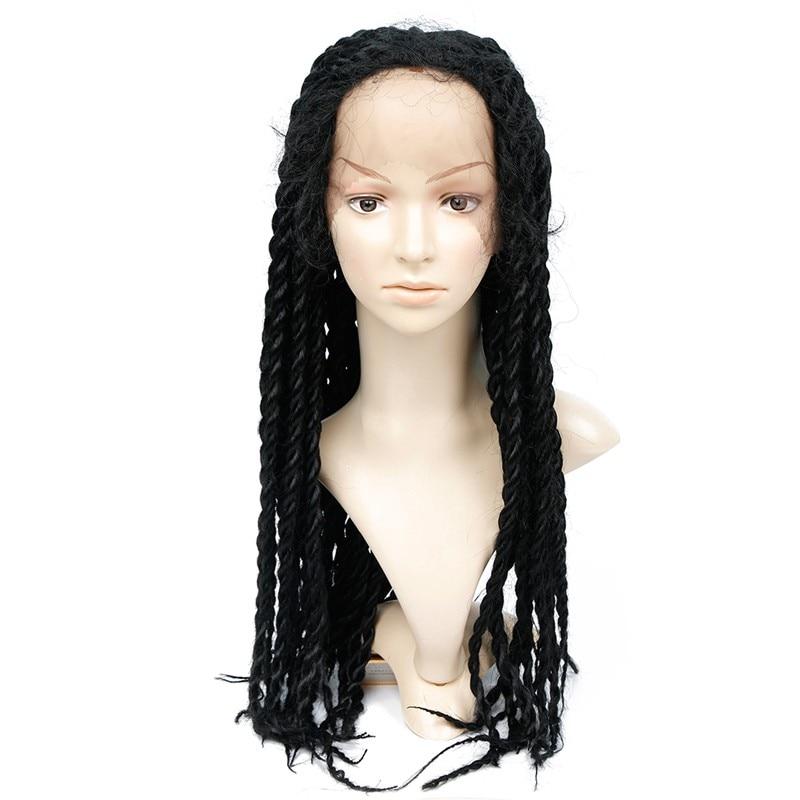Feibin Lace Front Wig För Svart Kvinnor Syntetisk Afro Twist Flätat Hår
