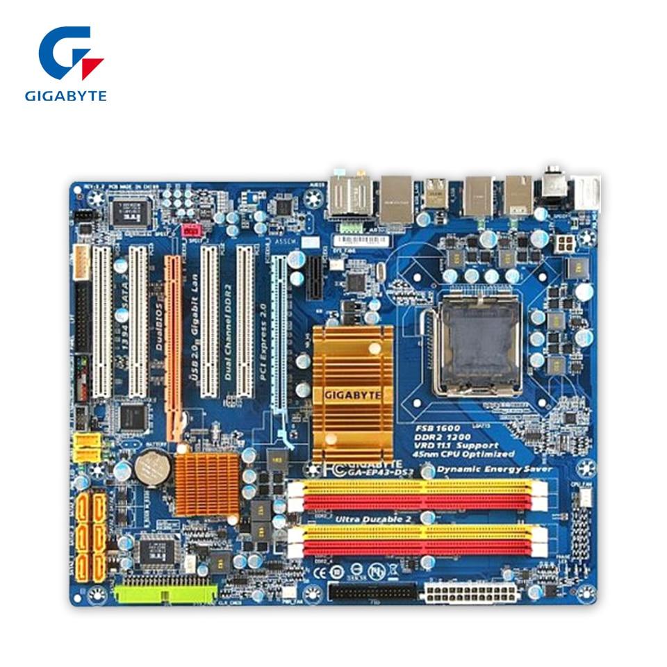 Original Gigabyte GA-EP43-DS3 Desktop Motherboard EP43-DS3 P43 LGA 775 DDR2 16G SATA2 USB2.0 ATX 100% Fully Test original gigabyte ga 8i945plge rh desktop motherboard 8i945plge rh 945pl lga 775 ddr2 2g sata2 micro atx 100% fully test