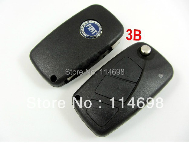 3 Button Black Remote Key Case for FIAT Punto Ducato Stilo Panda