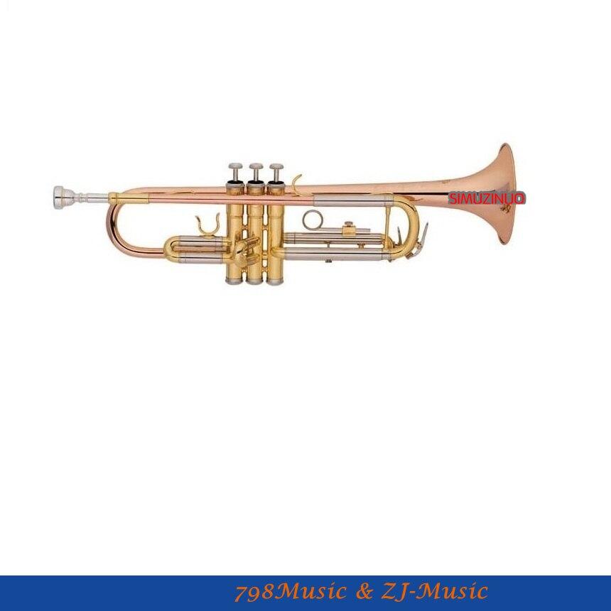 Nová růžová mosaz Bb Klíčová trubka Monel Piston Horn s pouzdrem