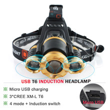IR Sensor Induction led headlamp Micro USB Recharger Zoom XML t6 head lamp Headlight head Frontal torch 18650 Lanterna hoofdlamp(China)