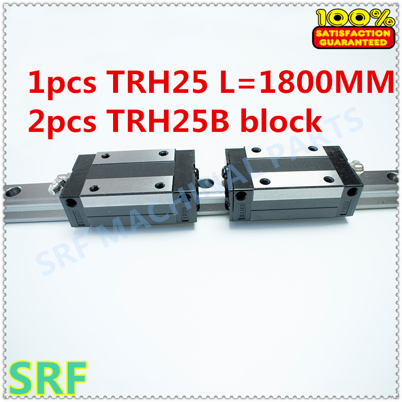 Hig quality Linear Guide 1pcs TRH25 Length=1800mm Linear guide rail+2pcs TRH25B linear slide block for CNC part high precision low manufacturer price 1pc trh20 length 1800mm linear guide rail linear guideway for cnc machiner