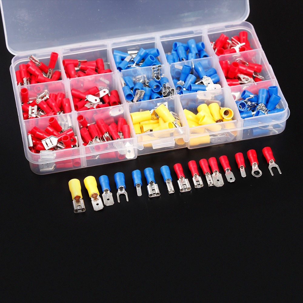 цены 280Pcs Assorted Insulated Spade Crimp Terminal Electrical Wire Connector Set Red Blue Yellow