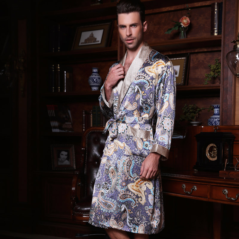 2019 New Male Silk Satin Long-Sleeve Kimono Sleepwear 100% Silk High Quality Men Bathing Robe Dressing Gown YE2519