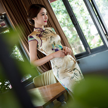 2017 Summer Flower Print Silk Cheongsam Top quality Party Dress Evening Dress Short Sleeve Tang Suit Shi-pao Vestidos Size S-2XL