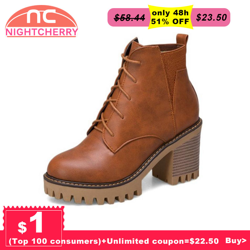 NIGHTCHERRY Vintage Frauen High Heel Stiefel Lace Up Einfarbig Warme Pelz Schuhe Frauen Winter Stiefeletten Mode Schuhe Größe 33-44