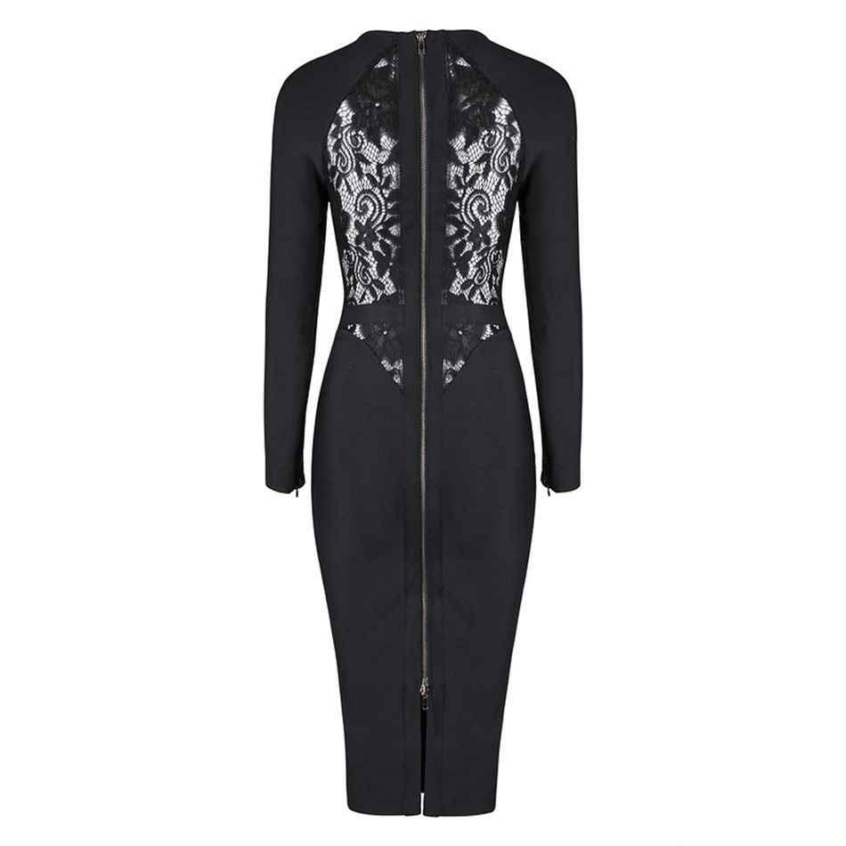 Новые зимние знаменитости вечерние Бандажное платье женский, черный кружева с длинными рукавами и круглым вырезом для ночного клуб платье Для женщин Vestidos
