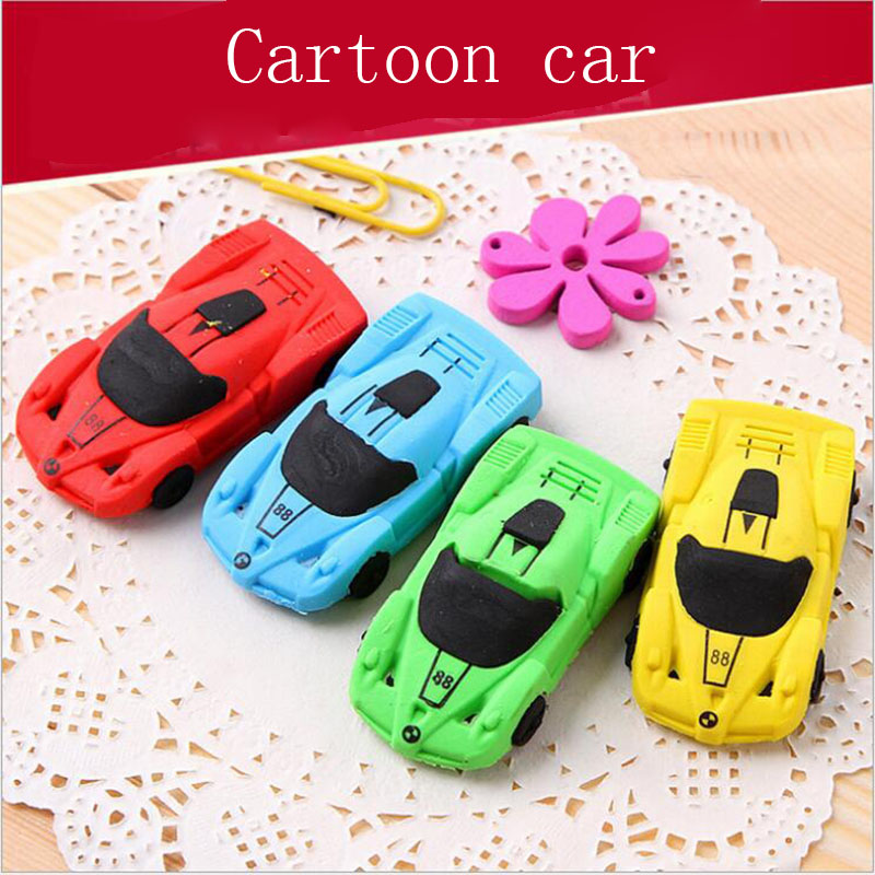 1pc Beautiful Creative DIY Car Cartoon Toy Eraser Cute Student School Supplies Eraser Child Gift Stationery Color Random