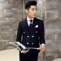 men suits Retro double-breasted Slim casual Blazers Ribbon stitching British style party dress high-quality clothing suits XZ58