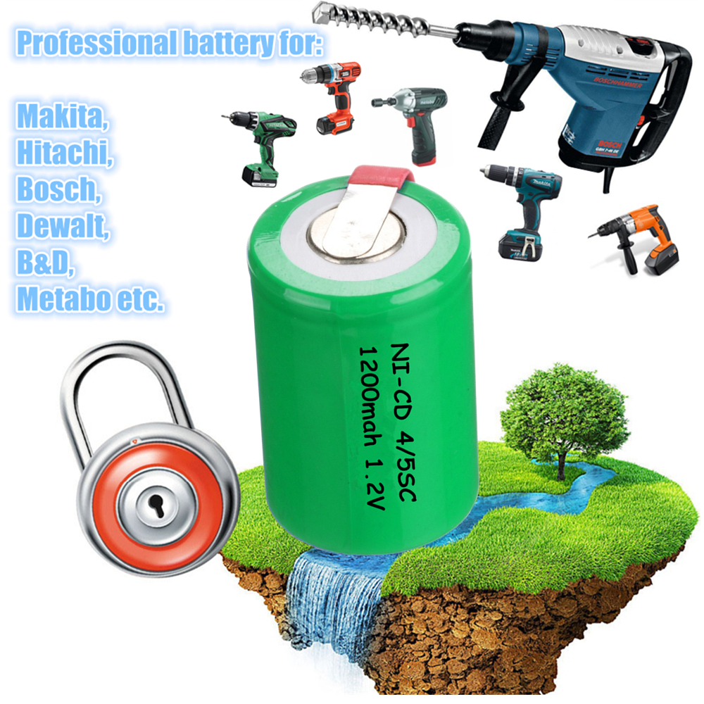 25 pcs 4/5SC 1200mah 1.2v battery NICD rechargeable batteries for electric screwdriver electric drill for emergency light toy