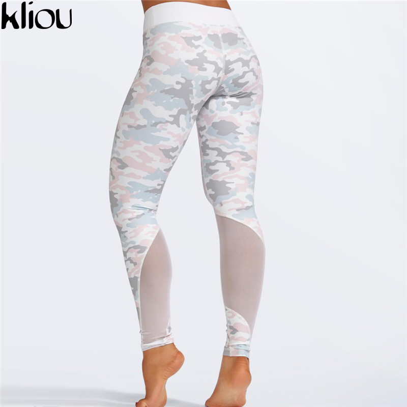 Image 2 - Kliou 2017 Women camouflag Fitness Clothing Suit Two Piece Sportswear Vest Pants Suits Crop Top Skinny mesh Legging Tracksuit-in Women's Sets from Women's Clothing