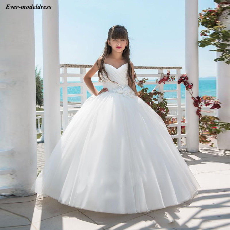 Sweetheart White Tull Ball Gowns   Flower     Girls     Dresses   Cheap Holy First Communion   Dresses   2019 primera comunion