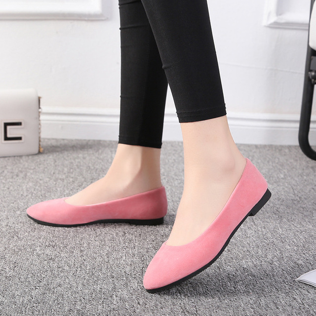 Plus Size 35-43 Women Flats Slip on Flat Shoes Candy Color Woman Boat Shoes Black Loafers Faux Suede Ladies Ballet Flats LHCGY
