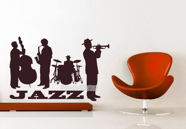 Wall decals jazz band musical player sticker art vinyl drums bass wall decal mural adesivo de