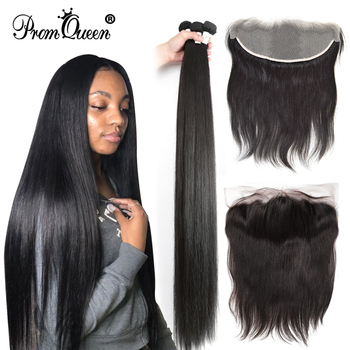 Brazilian Remy Hair Straight 32 34 36 40 inch Human hair Bundles With Frontal Closure 13X4 Lace Ear To - discount item  54% OFF Human Hair (For Black)