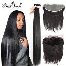 Прямые бразильские натуральные волосы, 32, 34, 40 дюймов, пряди человеческих волос с фронтальной застежкой 13X4, Прозрачная Кружевная фронтальна...