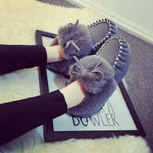 Free shipping female winter fur flat shoes Peas shoes plus velvet