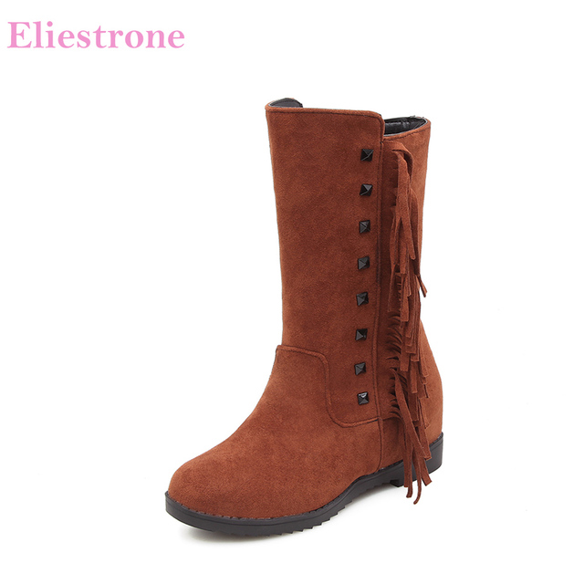 2ae4edd1112 Brand New Winter Black Red Women Wide Calf Fringe Boots Breathable Lady  Shoes Wedge Heels MH2 Plus Big Small Size 11 30 43 50