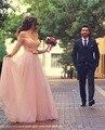 Pérola rosa 2016 uma linha de vestido de meia manga Chiffon fora do ombro rendas princesa vestido de casamento vestido de noiva