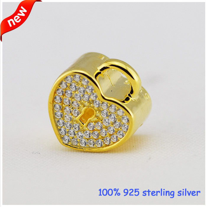 цены Fits Pandora Bracelets Padlock pave Silver Beads New Original 100% 925 Sterling Silver Charms DIY Wholesale
