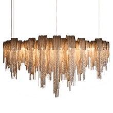 Современная роскошная светодиодная люстра с кисточками Серебристая Золотая алюминиевая цепь G9 люстра лампа Lamparas Lustre дизайн Hanglamp