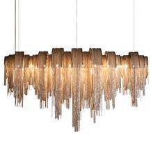 Moderne Luxus Quaste Led Kronleuchter Silber Gold Aluminium Kette G9 Kronleuchter Lampe Lamparas Lustre Neue Design Hanglamp