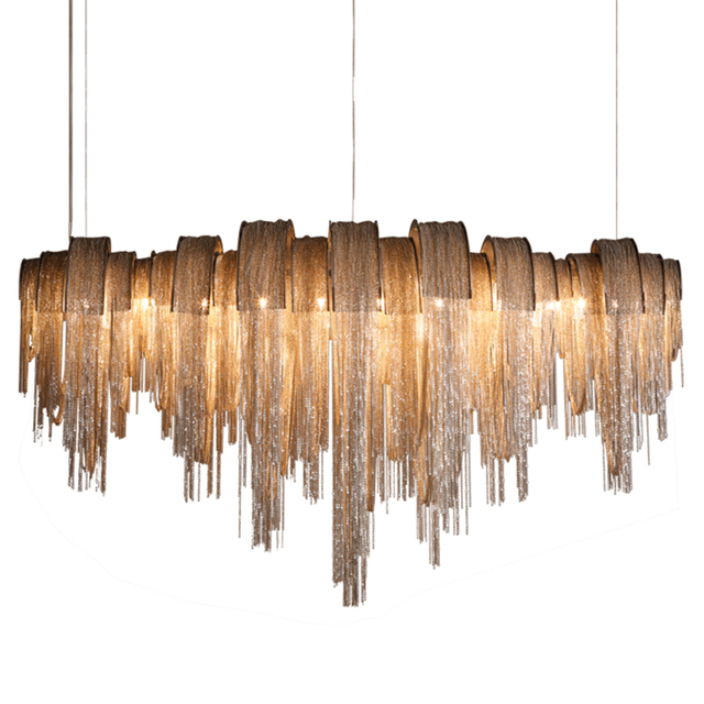 現代の高級タッセルledシャンデリアシルバーゴールドアルミチェーンG9 シャンデリアランプlamparas光沢新デザインhanglamp