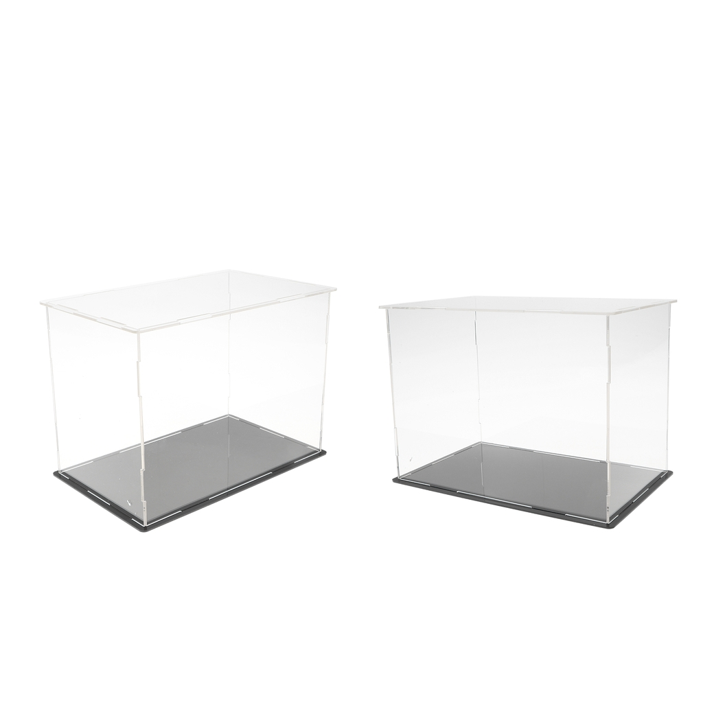 2pcs Clear Acrylic Display Case Box With Plastic Base For Action Figures Vehicle Model Toy Stone Showcase Display Self-Assembly 3 steps display case box dustproof showcase gray base acrylic plastic display box case 25 5x15 5x13 8cm 5 colors